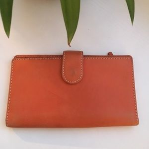 Handbags - Orange Leather Wallet Checkbook Cover